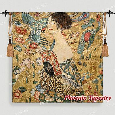 Gustav Klimt Lady with Fan Fine Art Tapestry Wall Hanging, 54