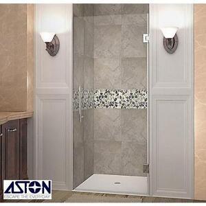 "NEW ASTON CASCADIA SHOWER DOOR - 115247450 - 35"" x 72"" STAINLESS STEEL FRAMELESS HINGED SHOWERS DOORS ENCLOSURE ENCLO..."