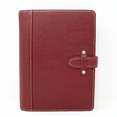 Franklin Covey Classic Size 5.5 X 8.5 Red Leather Planner 7 Ring Binder 1 New