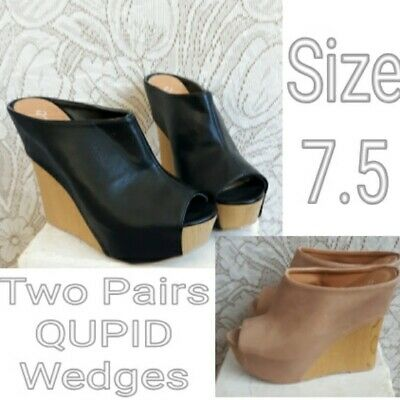 LOT TWO PAIRS Qupid TAN AND BLACK Slide Open Toe Wedge Heel Platform Sandals 7.5 for sale  Shipping to Nigeria
