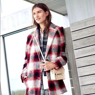 Madewell Red Black White Plaid Check Print Depot Cocoon Wool Coat Jacket Medium Red Coat Depot