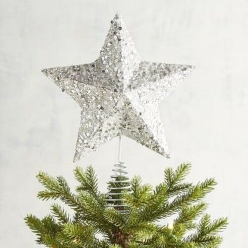 Pier 1 Imports Silver Sequin Glitter Star Tree Topper Christmas Holiday NEW