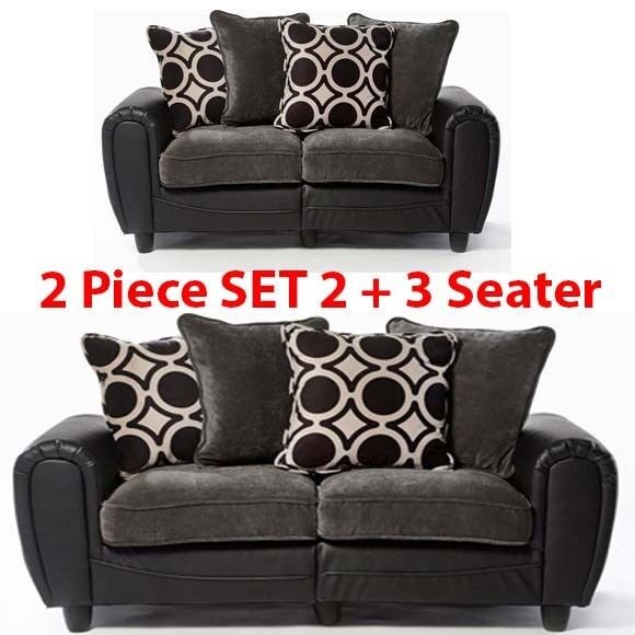 Brand New Delta 2 Piece Set Of 3 Seater Leather Couch Sofa With Cushions