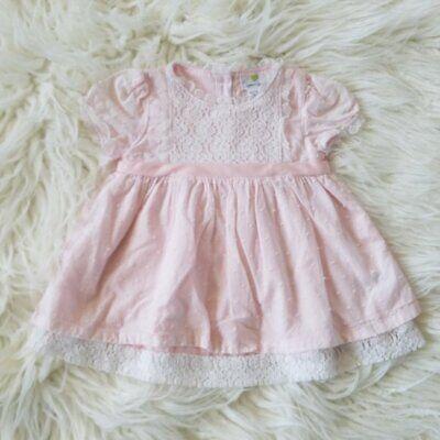 Emma's Garden Baby Girl Pink Swiss Dot Lace Bow Dress 6-9 Months