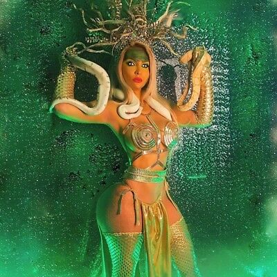 Medusa Goddess Snake Serpent Crown Headpiece Gold Bustier Skirt Set - Medusa Costume Headpiece