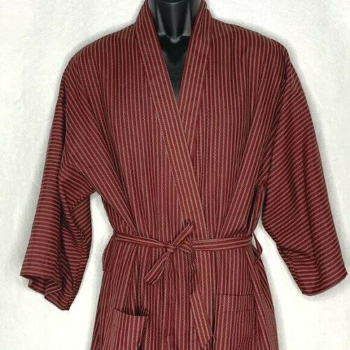 Vintage Christian Dior Silky Robe Mens One Size Maroon Red Grey Stripes Pockets