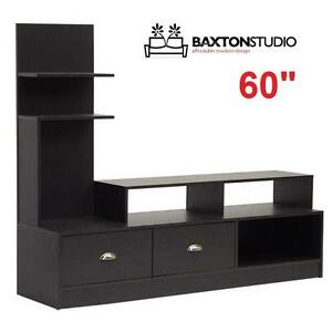 """NEW* BAXTON STUDIO 60"""" TV STAND ARMSTRONG COLLECTION ESPRESSO TV STANDS MEDIA CONSOLE CONSOLES FURNITURE DECOR"""