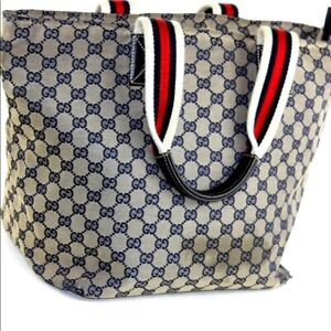 2ccd5e85024 AUTHENTIC GUCCI NAVY MONOGRAM LARGE CANVAS LEATHER TOTE BAG!