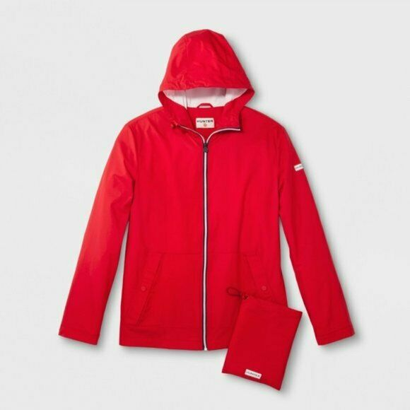 Hunter For Target Adult Unisex Water Resistant Zip-Up Packable Rain Coat – Red S Clothing, Shoes & Accessories