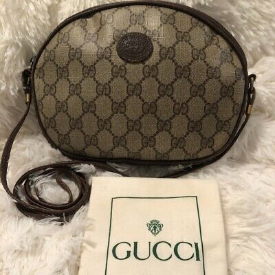 Authentic Vintage Brown Gucci GG Crossbody Bag With Credit Card Holder FREE SHIP