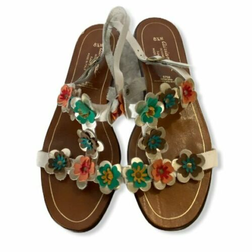 Vintage T strap sling sandals with flower applique, size 8.5M