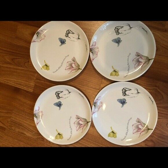 Nature's Journey Floral Cake Plates Set of 4