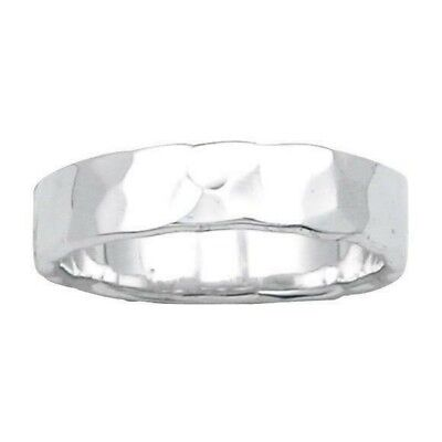 Hammered Finish Wedding Band 5 mm Ring Solid Sterling Silver 925 4.2 gr Size 7 5mm Hammered Band Ring