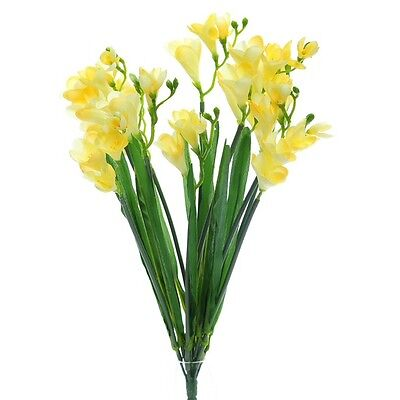 Artificial Yellow Freesia Bush with 12 Flowering Stems and Buds - 52 cm Flower Bushes With Yellow Flowers