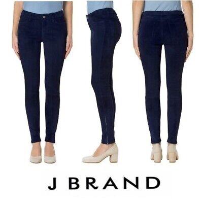 J Brand Nubuck Lamb Suede Leather Skinny Jeans Side Zipper, Navy $998, Sz 24 New