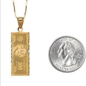 Supreme 100 dollar bill Gold Pendant