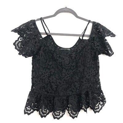 Zara Size S Small Black Lace Short Sleeve Ruffle Crop Top Lined Womens