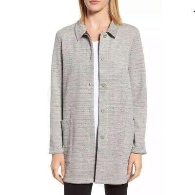 Eileen Fisher Organic Cotton Chevron Knit Jacket Women Button Down Gray PS