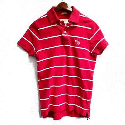 Abercrombie & Fitch Red Striped Muscle Fit Short Sleeve Polo Shirt Men's Size S