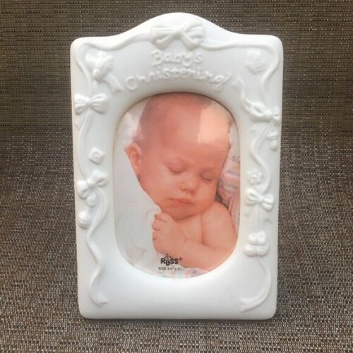 Russ Baby Christening White Picture Frame
