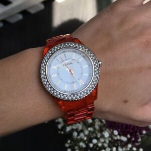 Fossil Orange Clear Rhinestone Watch- unisex