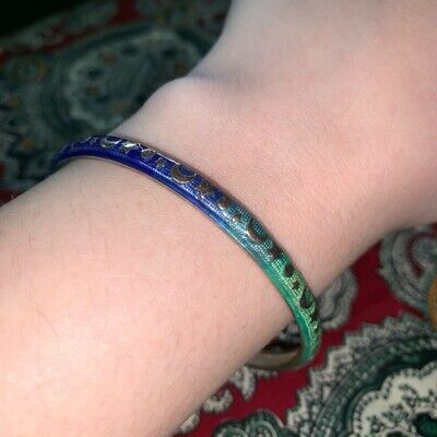 Hidalgo Moon and Stars Enamel Sterling Silver Bracelet Bangle