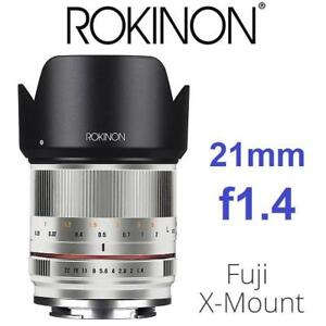 NEW ROKINON 21mm f1.4 LENS FOR FUJI RK21M-FX-SIL 187579984 HIGH SPEED WIDE ANGLE LENS FOR FUJIFILM ED AS UMC PHOTOGRA...