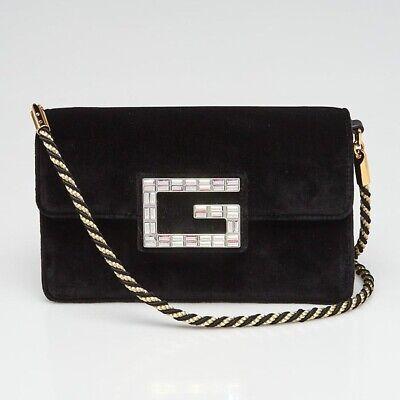 Gucci Women's Black Broadway Velvet Crystal G Shoulder Bag/Clutch New