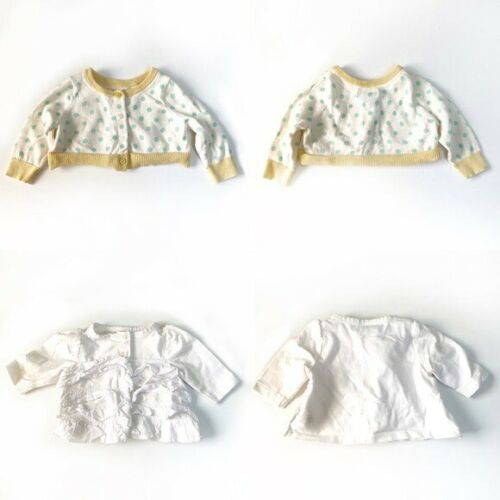 Baby Gap Lot Of 2 White Cardigans Sweaters Infant Baby Girl Size 0-3 Months