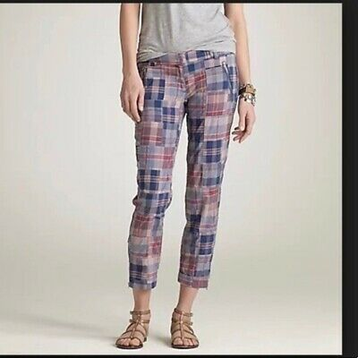 NWT J.Crew Women's Pants 0 Patchwork Plaid City Fit Cropped Ankle Zippers