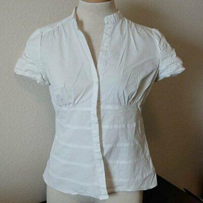 ZARA WOMAN Ruched White Short Sleeve Blouse Size LARGE