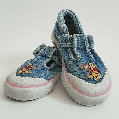 Vintage Disney Girls Shoe Winnie The Pooh Mary Jane Size 6 Denim