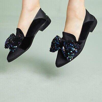 Anthropologie Shelly's London Faye Flats Velvet Bow Slippers Mules 38 7 7.5 NWT