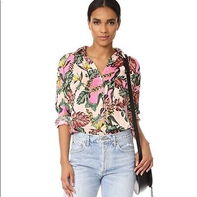 NWT Free People Under the Palms Tropical Print Button Down Shirt Blouse $98 Sz S