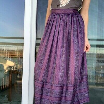 80s Dresses | Casual to Party Dresses Vintage Lanz Originals Purple Floral Midi Skirt High Rise Pleated A Line  $45.00 AT vintagedancer.com