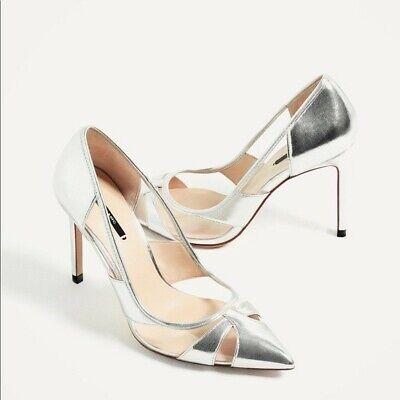 Zara Metallic Silver Stylish High Heels Women Shoes Brand New Size 6.5 (37)