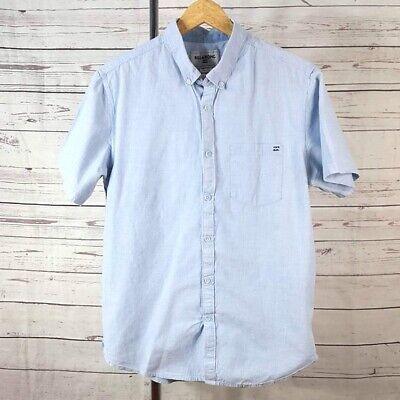 Billabong blue button down front pocket collar short sleeve shirt Size Large