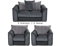 Brand New Tennyson Black/Grey 2 Fabric Armchair + 2 Seater Couch Fabric Sofa 3 Piece Set