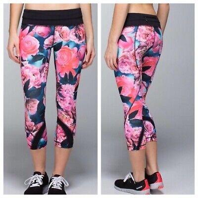 Lululemon RUN: INSPIRE CROP II SECRET GARDEN Rose Floral Black Sz 6 Leggings