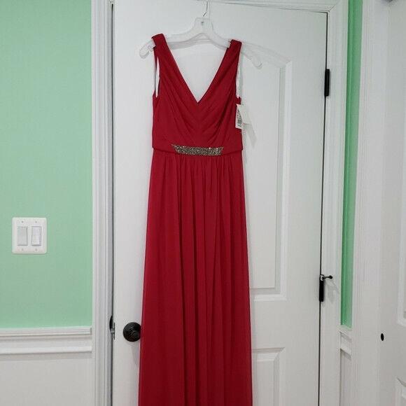 davids bridal red bridesmaid dress
