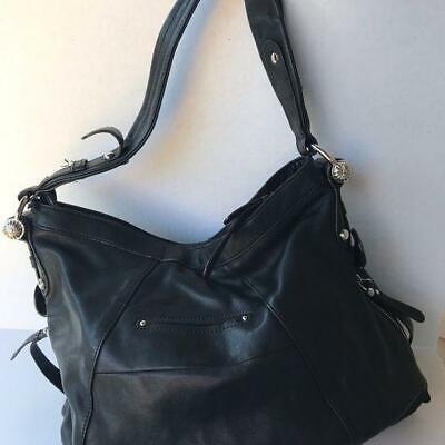 B Makowsky Large Leather Handbag Purse Black pre-owned