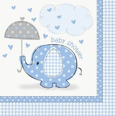 Blue Baby Boy Shower Party SWEET UMBRELLA ELEPHANT LUNCH DINNER NAPKINS