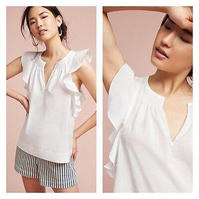 Anthropologie HD PARIS 6 Blouse Ruffled Poplin Top Shirt Cotton V Neck White NWT