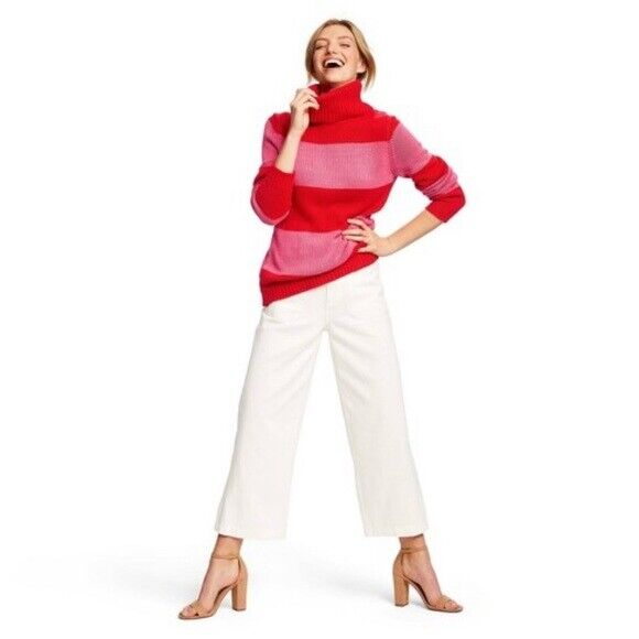 Isaac Mizrahi For Target Womens Striped Turtleneck Pullover Sweater – Red/Pink L Clothing, Shoes & Accessories