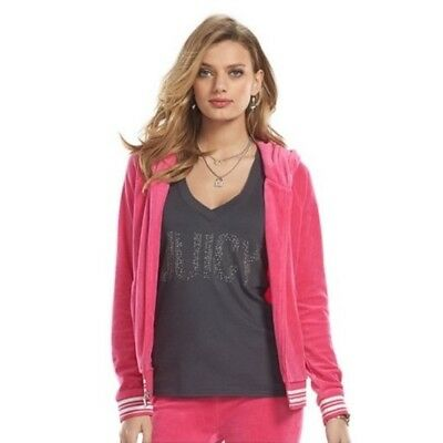 Juicy Couture Magenta Velour Lurex Trim Hoodie Sz M L New  - Trim Velour Hoodie