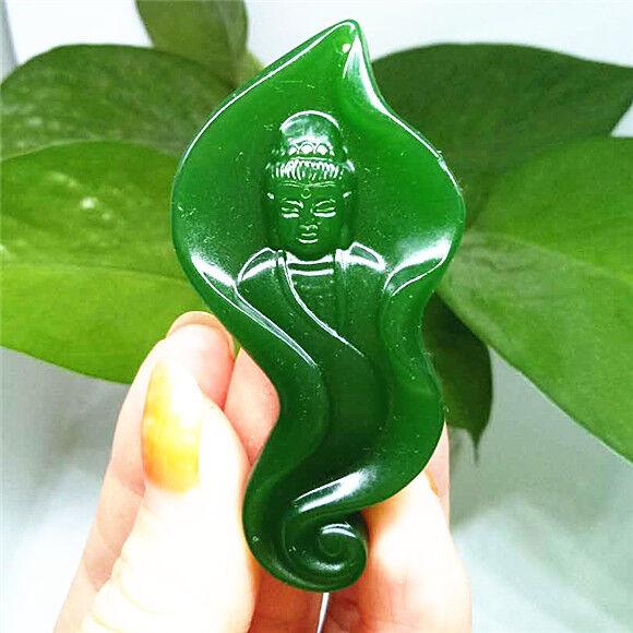 Vert Naturel Hand-Carved Chinese Hetian Jade Pendentif-Dragon-Free Collier