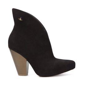 Vivienne Westwood Black Satyr boot gold heels size 7/8