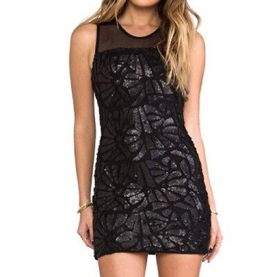 BNWT SKY Brand Coal-black Sequin Low Back FEDIA Dress $250 Large