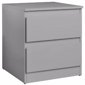 Ex display Inanna 2 Drawer Bedside Chest - Grey Gloss