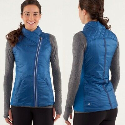 Lululemon Size 6 What The Fluff Blue Reversible Vest Zip Goose Down Athletic